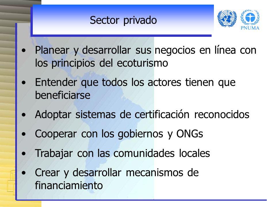 Sector privadoPlanear y desarrollar sus negocios en línea con los principios del ecoturismo. Entender que todos los actores tienen que beneficiarse.