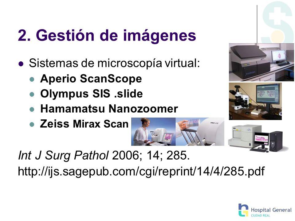 2. Gestión de imágenes Int J Surg Pathol 2006; 14; 285.