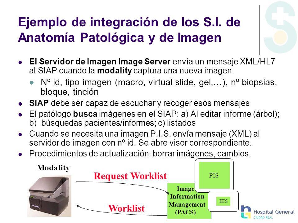 Ejemplo de integración de los S.I. de Anatomía Patológica y de Imagen