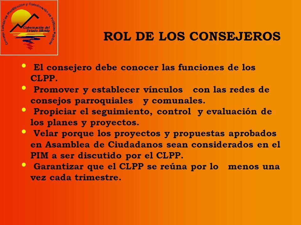 ROL DE LOS CONSEJEROS El consejero debe conocer las funciones de los CLPP.