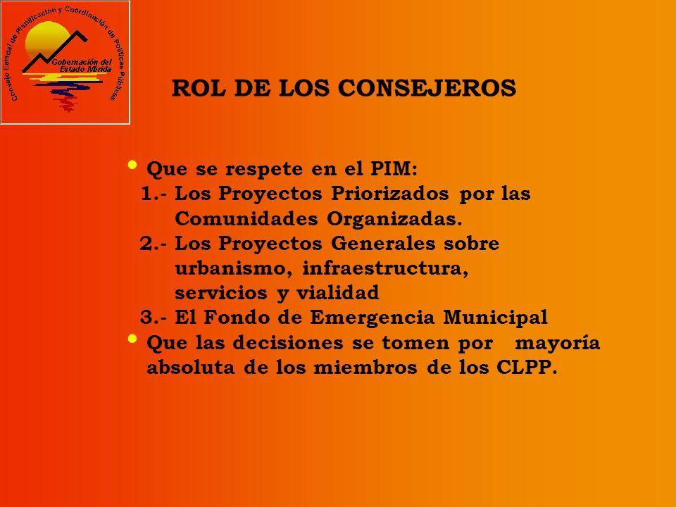 ROL DE LOS CONSEJEROS Que se respete en el PIM: