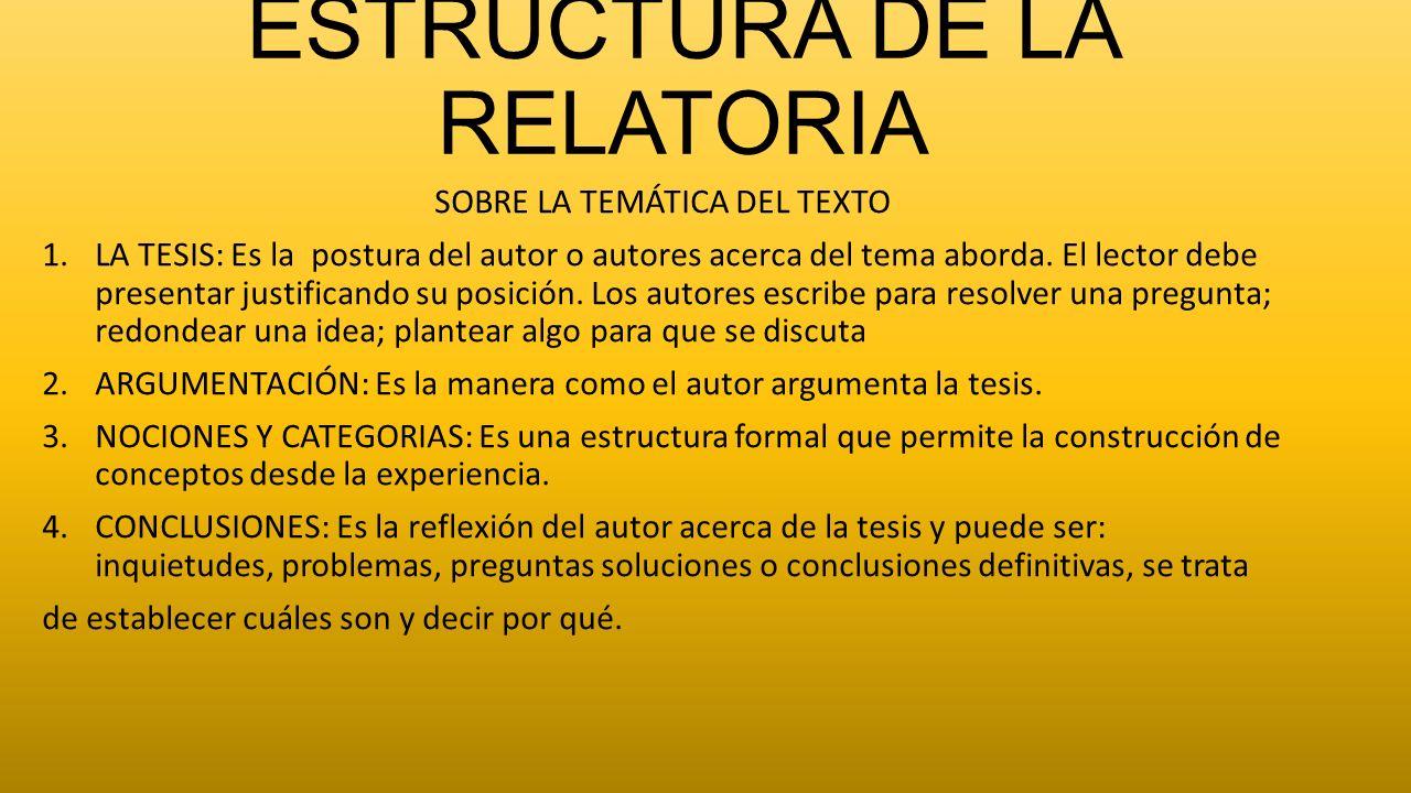 ESTRUCTURA DE LA RELATORIA