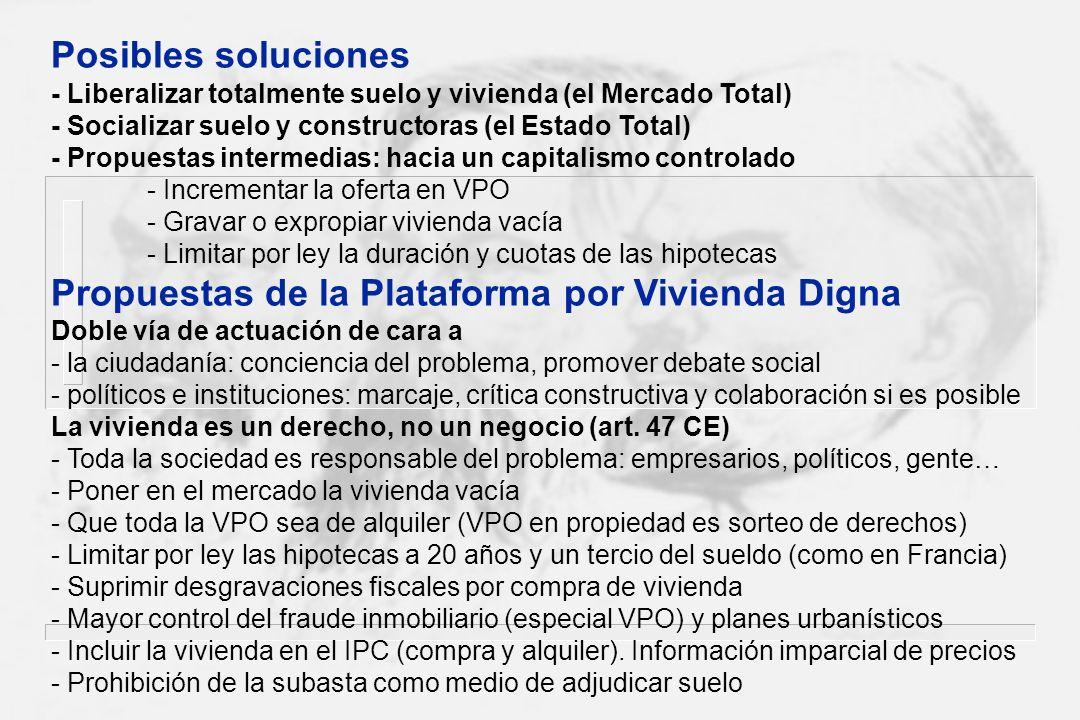 Posibles soluciones - Liberalizar totalmente suelo y vivienda (el Mercado Total) - Socializar suelo y constructoras (el Estado Total)