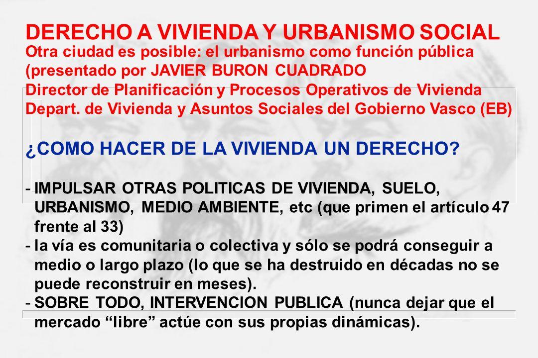 DERECHO A VIVIENDA Y URBANISMO SOCIAL
