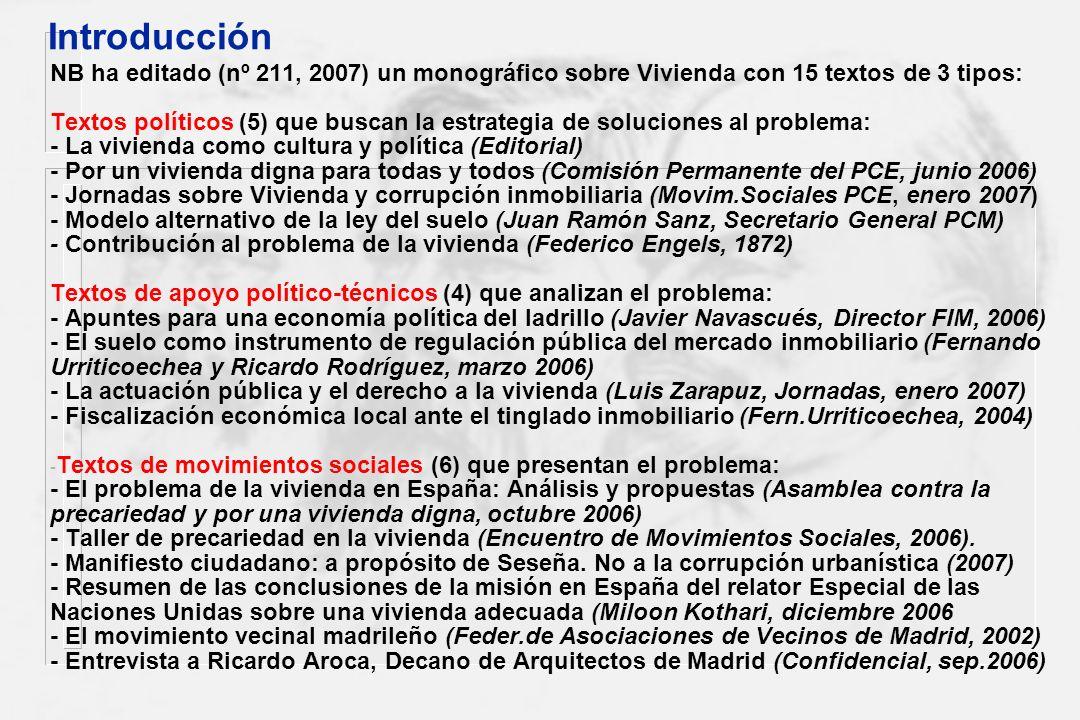 Introducción NB ha editado (nº 211, 2007) un monográfico sobre Vivienda con 15 textos de 3 tipos: