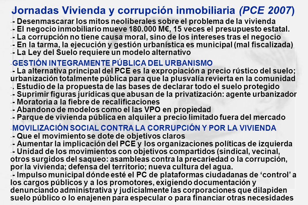 Jornadas Vivienda y corrupción inmobiliaria (PCE 2007)