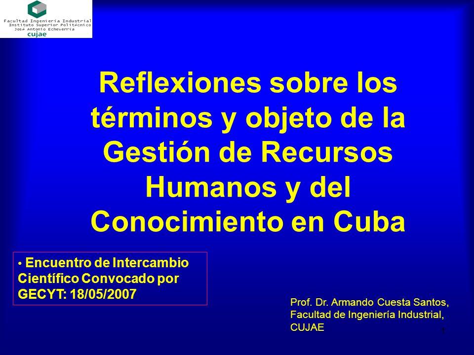 Reflexiones sobre los términos y objeto de la Gestión de Recursos Humanos y del Conocimiento en Cuba