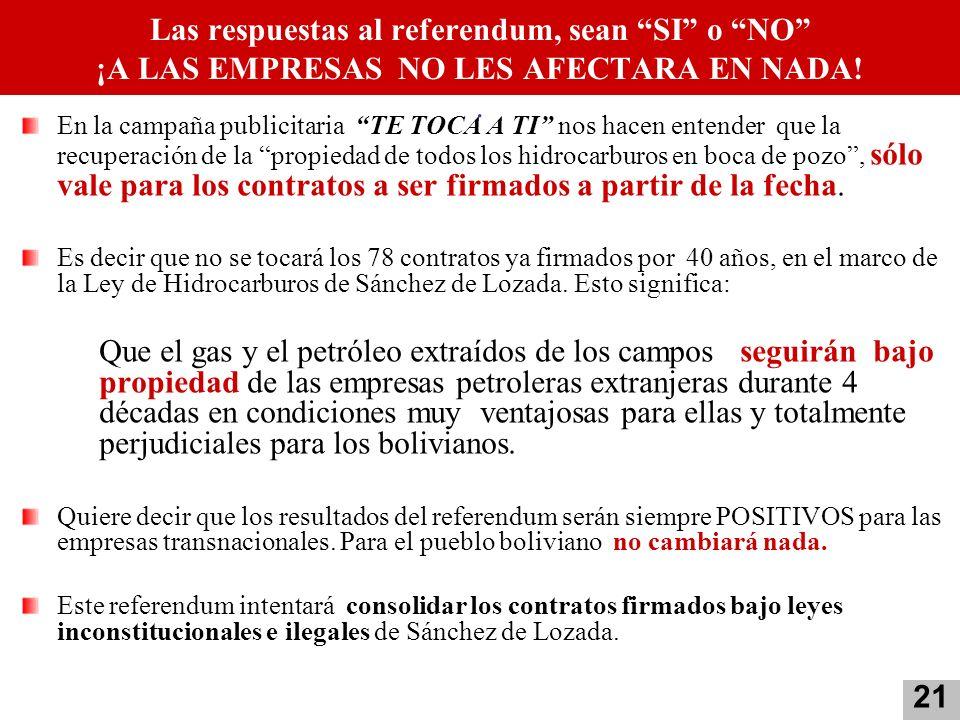 Las respuestas al referendum, sean SI o NO ¡A LAS EMPRESAS NO LES AFECTARA EN NADA! .
