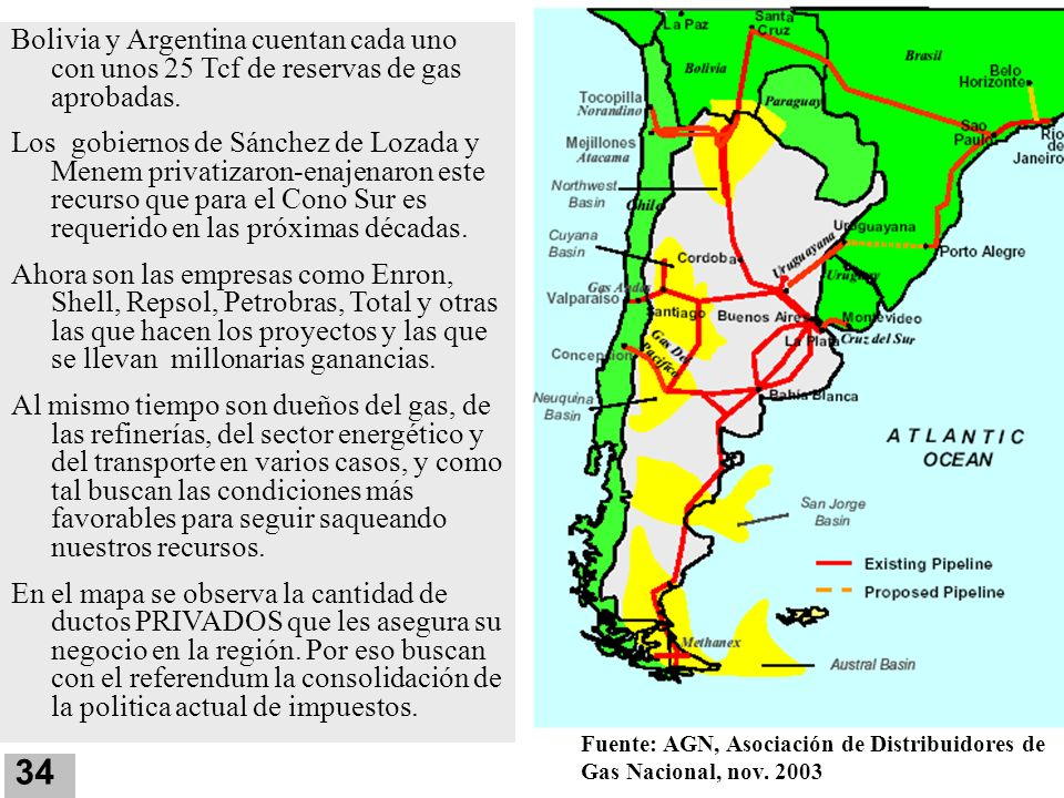 Bolivia y Argentina cuentan cada uno con unos 25 Tcf de reservas de gas aprobadas.