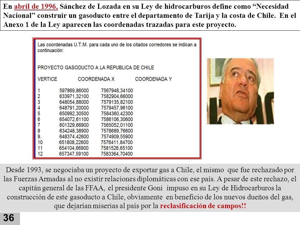 En abril de 1996, Sánchez de Lozada en su Ley de hidrocarburos define como Necesidad Nacional construir un gasoducto entre el departamento de Tarija y la costa de Chile. En el Anexo 1 de la Ley aparecen las coordenadas trazadas para este proyecto.