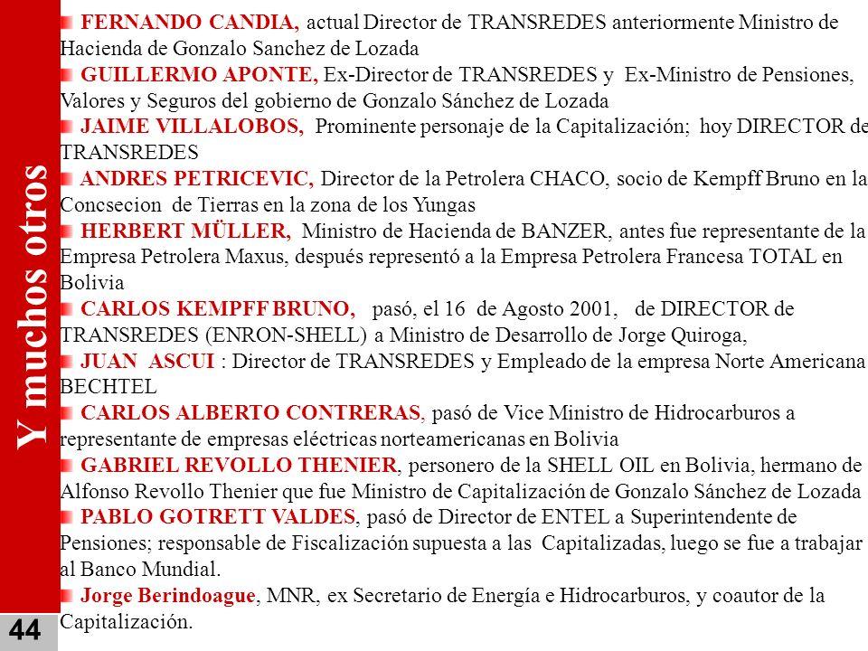 FERNANDO CANDIA, actual Director de TRANSREDES anteriormente Ministro de Hacienda de Gonzalo Sanchez de Lozada