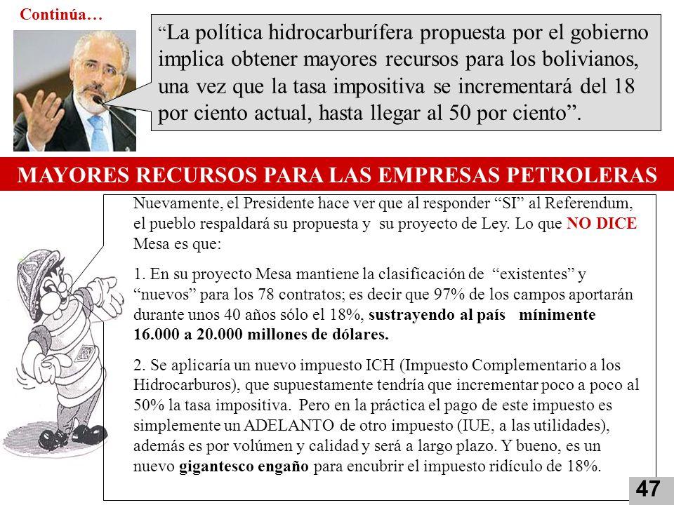 MAYORES RECURSOS PARA LAS EMPRESAS PETROLERAS