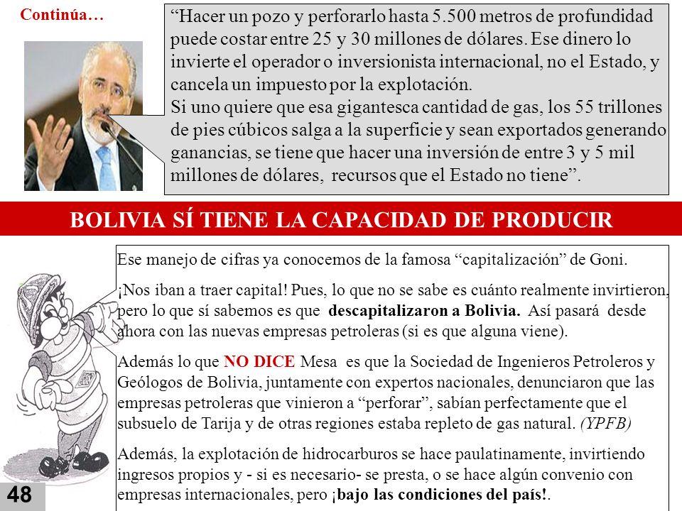 BOLIVIA SÍ TIENE LA CAPACIDAD DE PRODUCIR