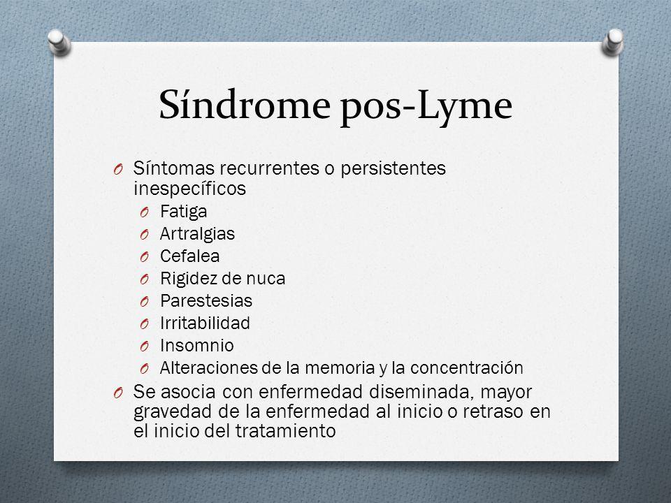 Síndrome pos-Lyme Síntomas recurrentes o persistentes inespecíficos