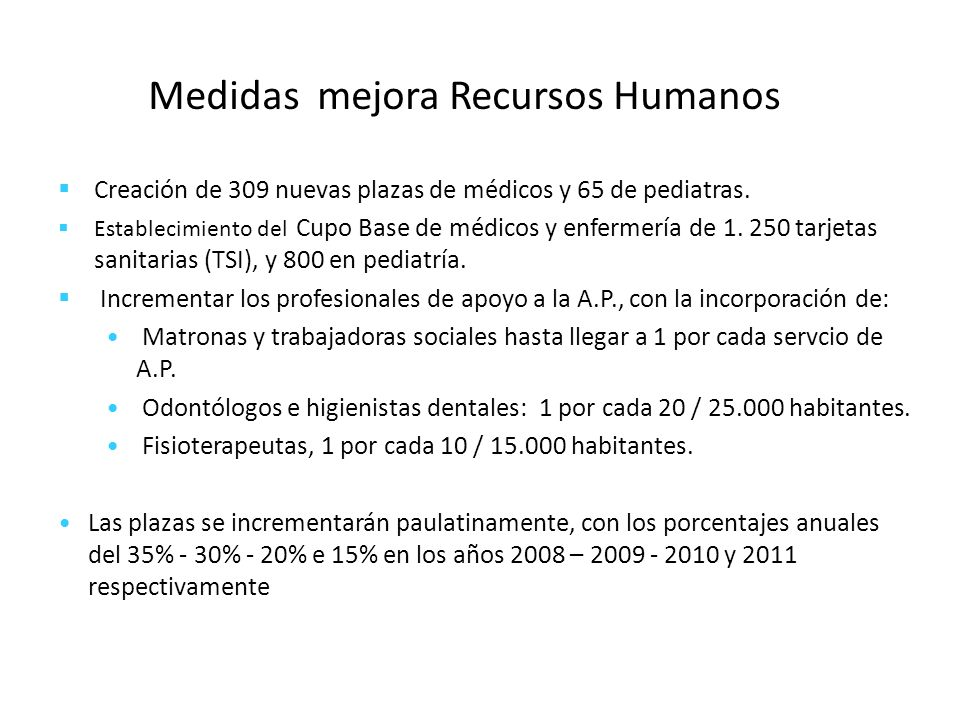 Medidas mejora Recursos Humanos