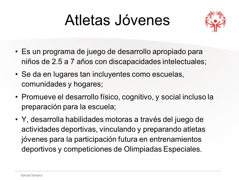 Atletas Jóvenes Es un programa de juego de desarrollo apropiado para niños de 2.5 a 7 años con discapacidades intelectuales;