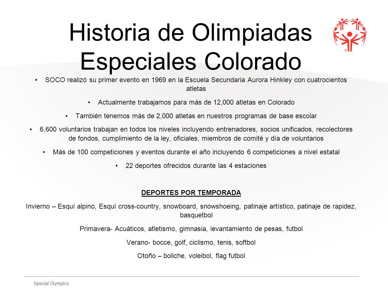 Historia de Olimpiadas Especiales Colorado