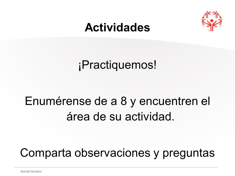 Enumérense de a 8 y encuentren el área de su actividad.