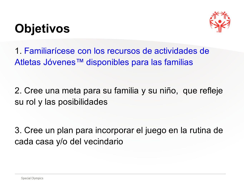 Objetivos 1. Familiarícese con los recursos de actividades de Atletas Jóvenes™ disponibles para las familias.