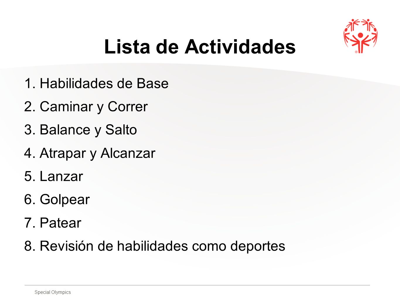 Lista de Actividades 1. Habilidades de Base 2. Caminar y Correr