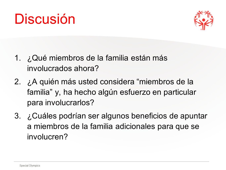 Discusión ¿Qué miembros de la familia están más involucrados ahora