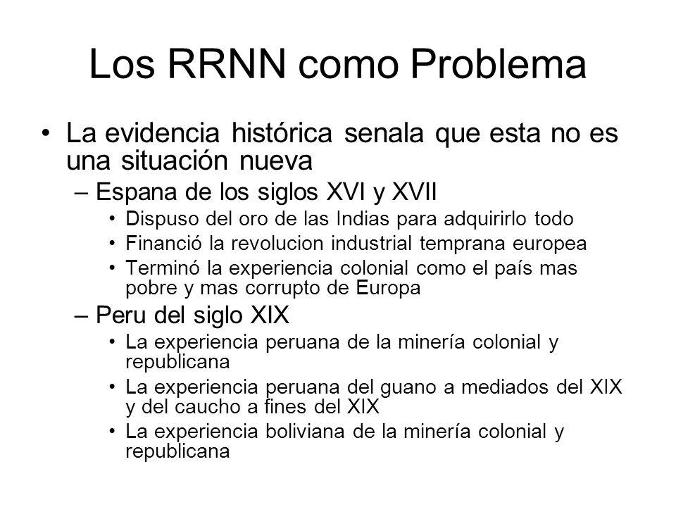 Los RRNN como Problema La evidencia histórica senala que esta no es una situación nueva. Espana de los siglos XVI y XVII.