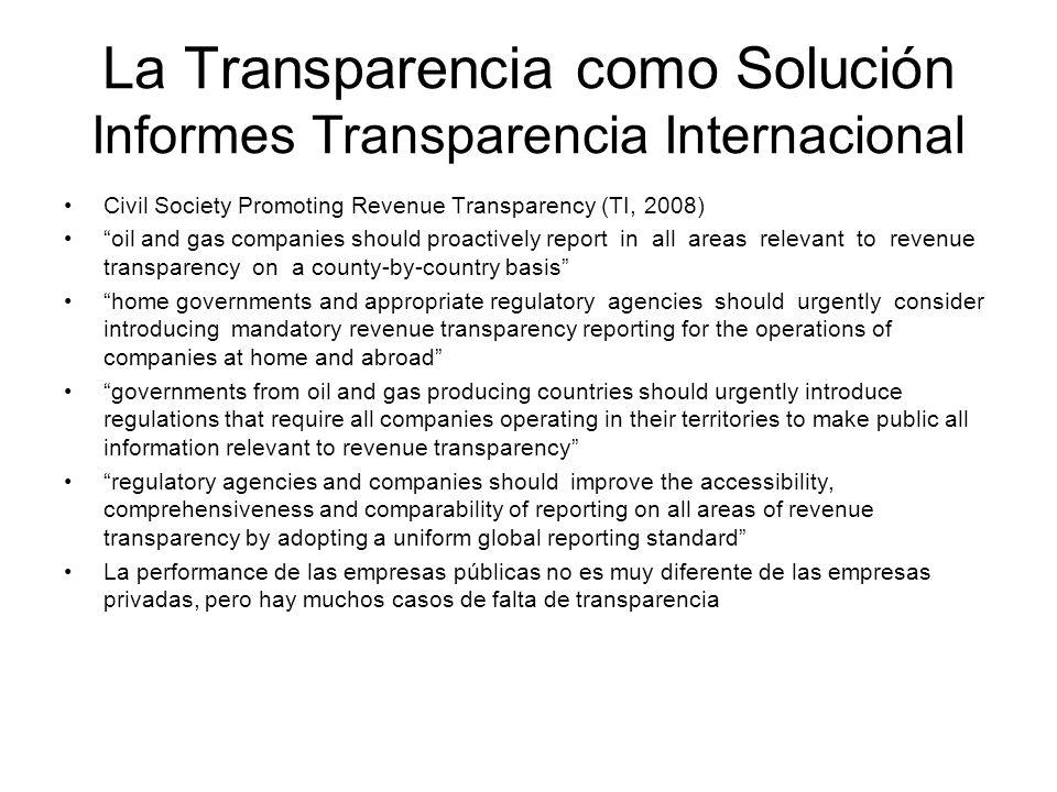 La Transparencia como Solución Informes Transparencia Internacional