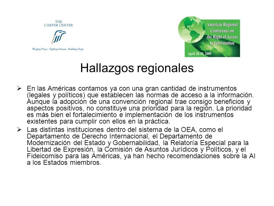 Hallazgos regionales