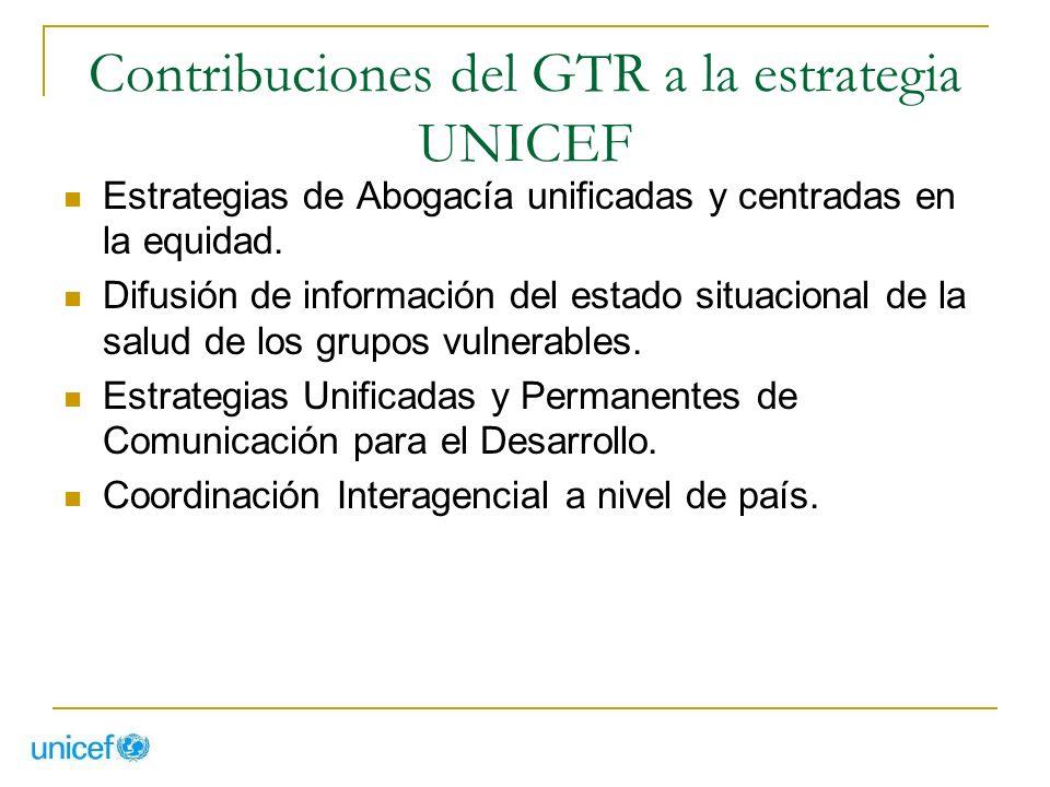 Contribuciones del GTR a la estrategia UNICEF