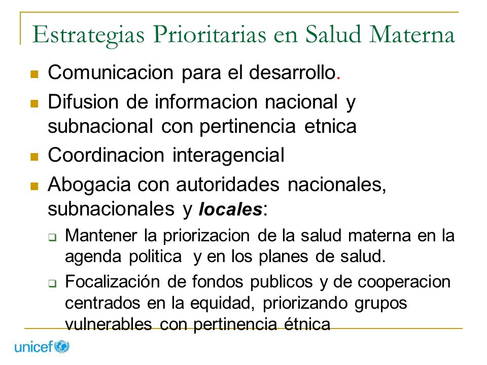 Estrategias Prioritarias en Salud Materna