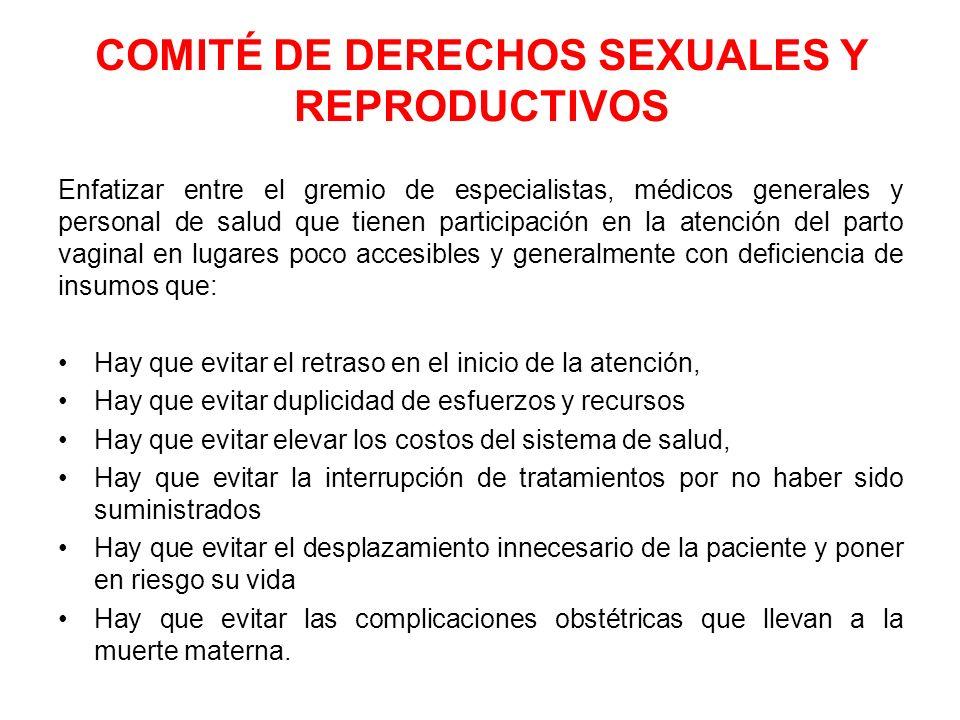 COMITÉ DE DERECHOS SEXUALES Y REPRODUCTIVOS