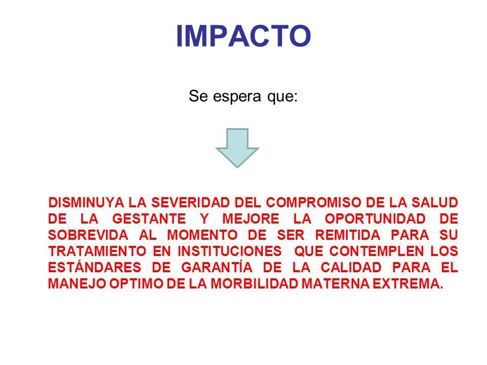 IMPACTO Se espera que: