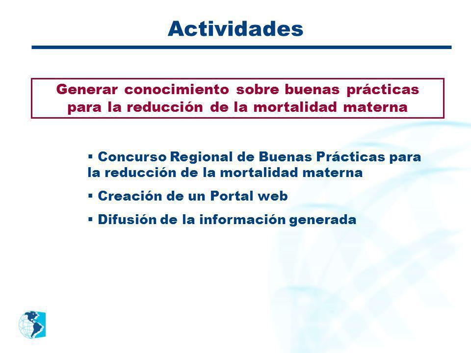 Actividades Generar conocimiento sobre buenas prácticas para la reducción de la mortalidad materna.