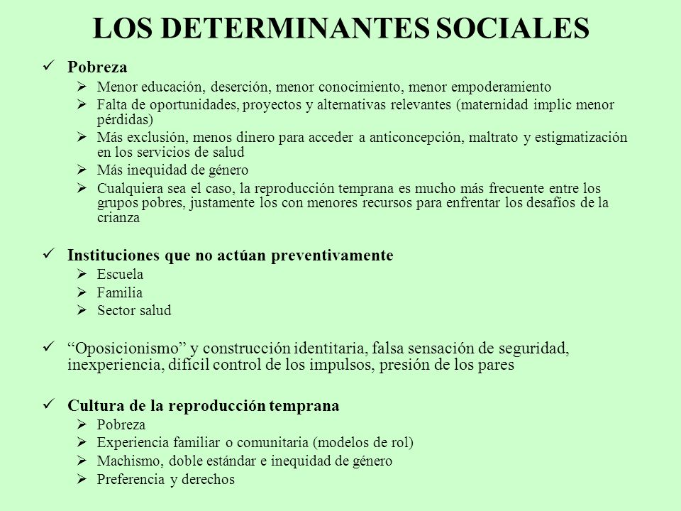 LOS DETERMINANTES SOCIALES