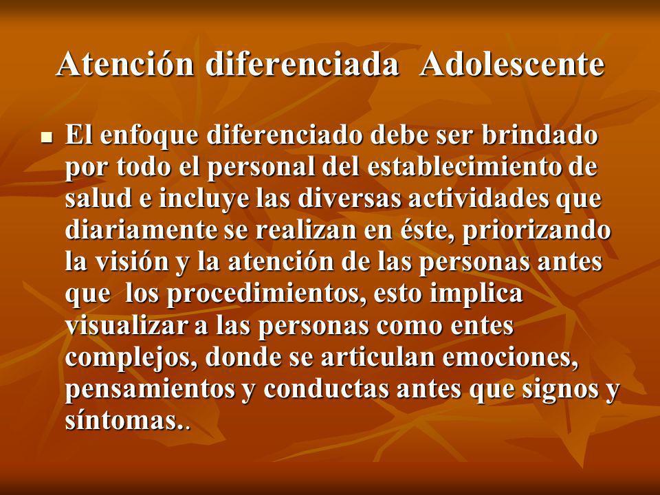 Atención diferenciada Adolescente