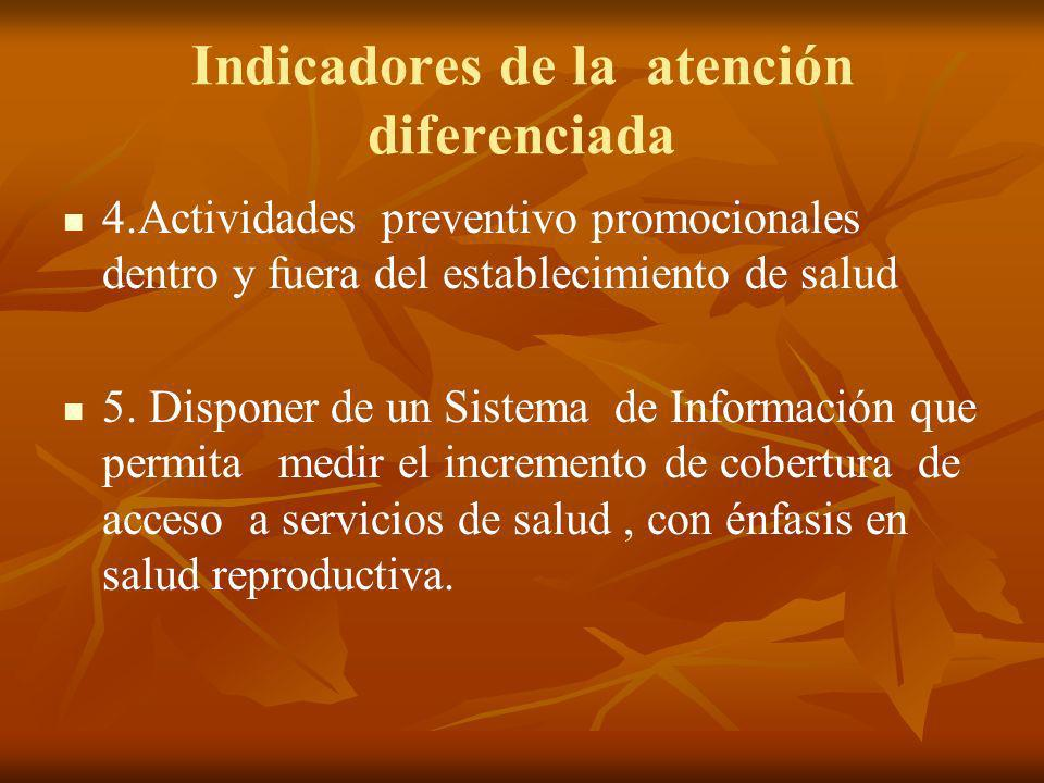 Indicadores de la atención diferenciada