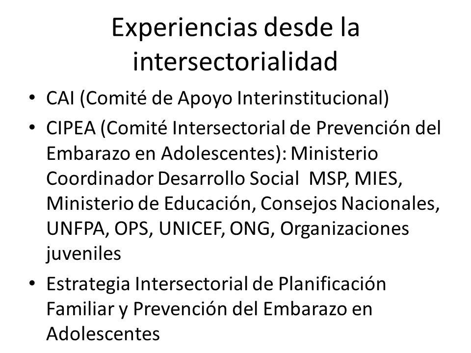 Experiencias desde la intersectorialidad