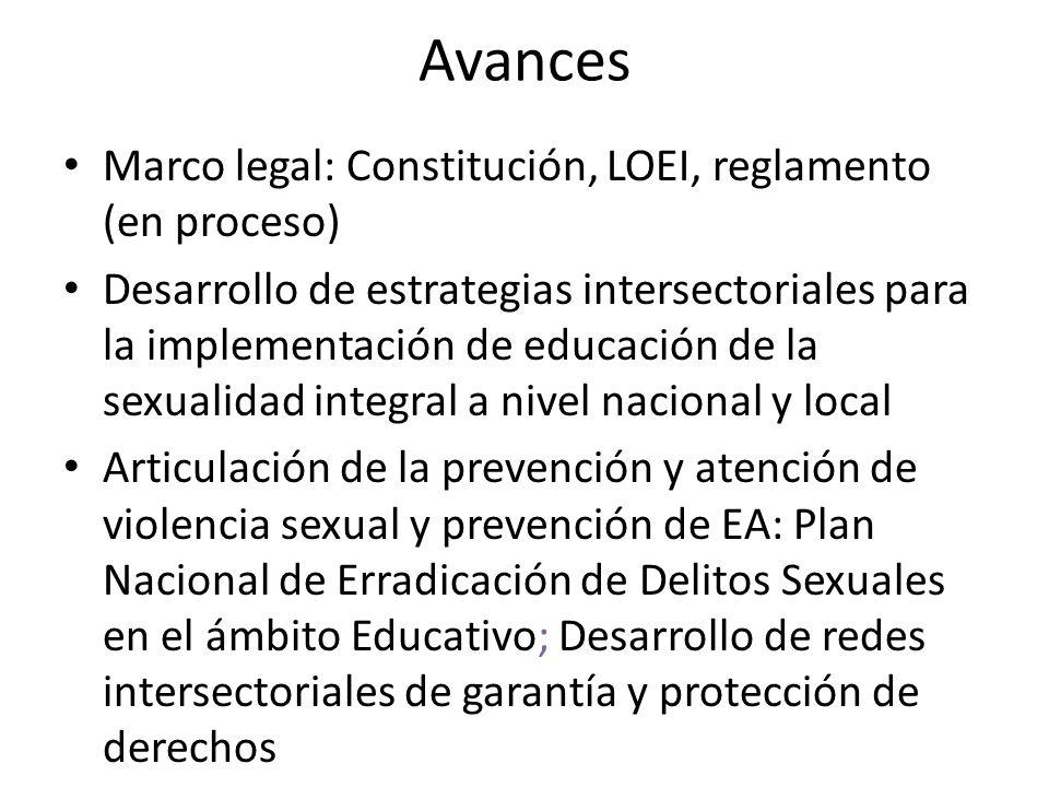 Avances Marco legal: Constitución, LOEI, reglamento (en proceso)
