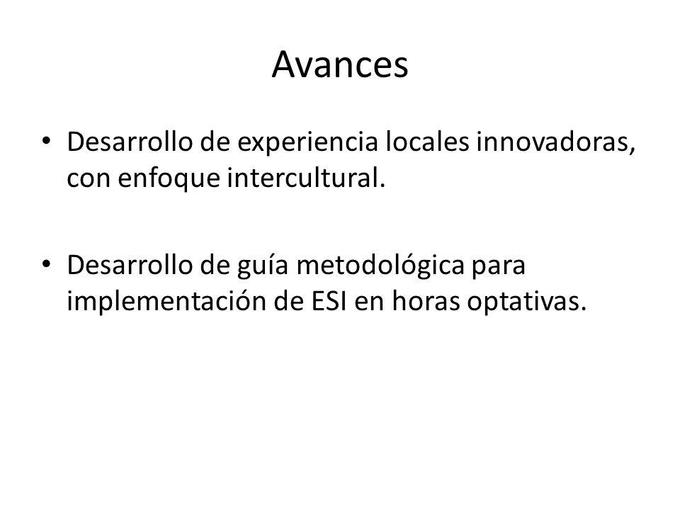Avances Desarrollo de experiencia locales innovadoras, con enfoque intercultural.
