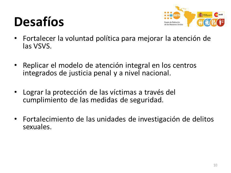 Desafíos Fortalecer la voluntad política para mejorar la atención de las VSVS.