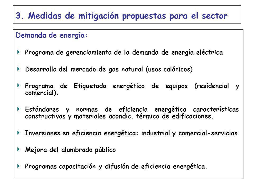 3. Medidas de mitigación propuestas para el sector