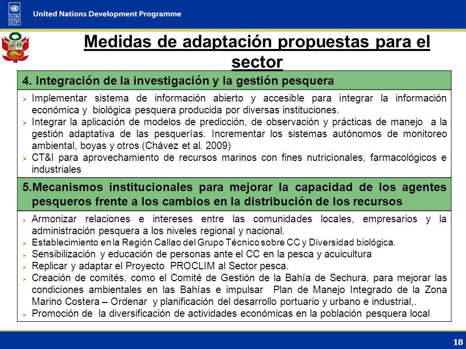Medidas de adaptación propuestas para el sector