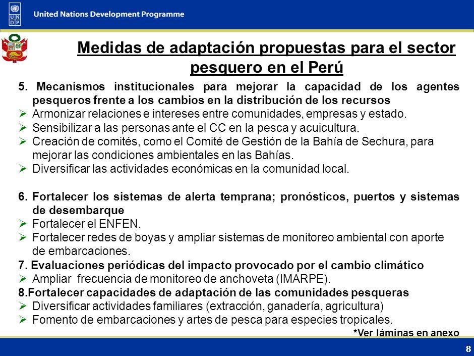 Medidas de adaptación propuestas para el sector pesquero en el Perú