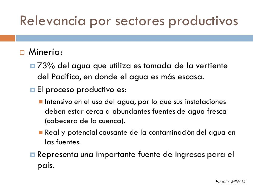 Relevancia por sectores productivos