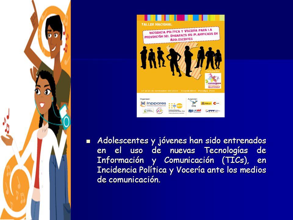 Adolescentes y jóvenes han sido entrenados en el uso de nuevas Tecnologías de Información y Comunicación (TICs), en Incidencia Política y Vocería ante los medios de comunicación.