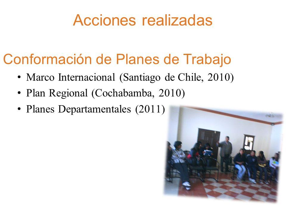 Acciones realizadas Conformación de Planes de Trabajo