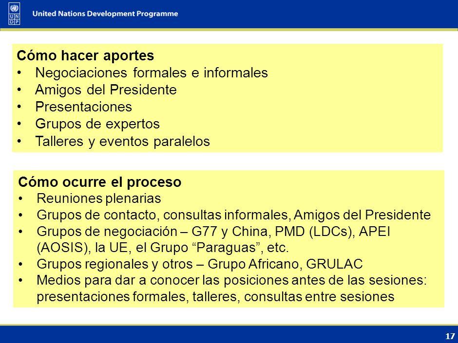Negociaciones formales e informales Amigos del Presidente