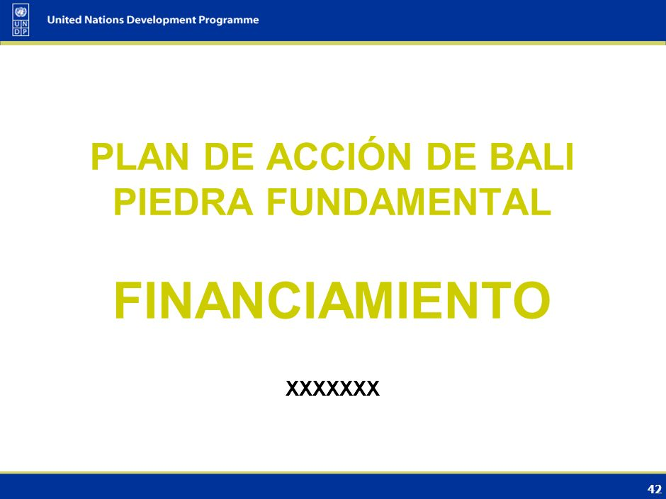 PLAN DE ACCIÓN DE BALI PIEDRA FUNDAMENTAL FINANCIAMIENTO XXXXXXX 42 42