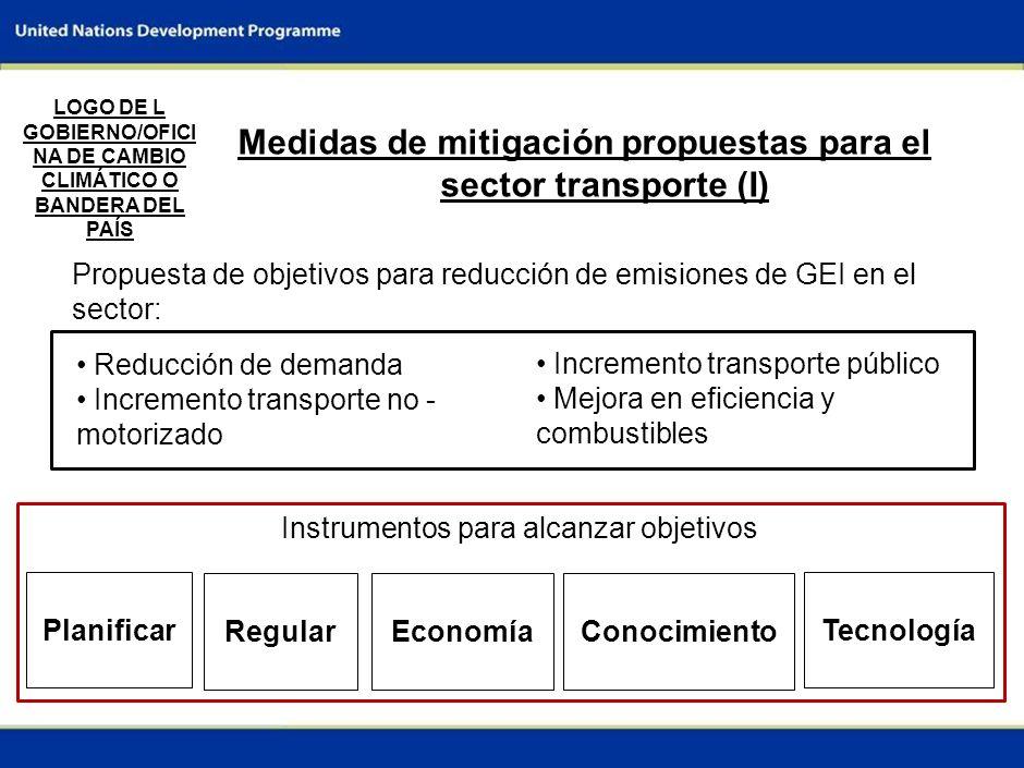 Medidas de mitigación propuestas para el sector transporte (I)