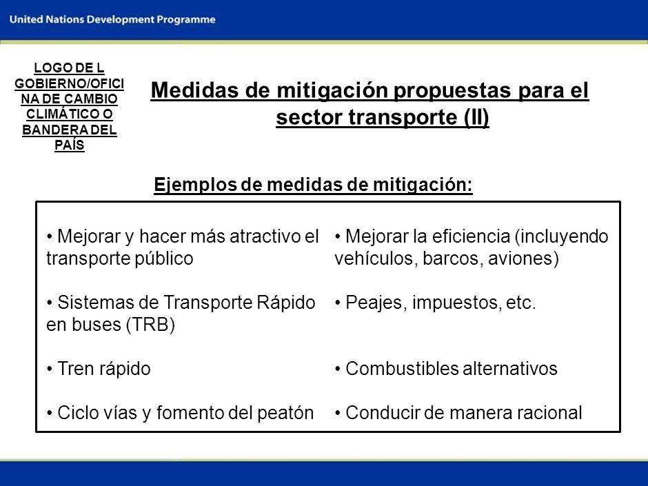 Medidas de mitigación propuestas para el sector transporte (II)